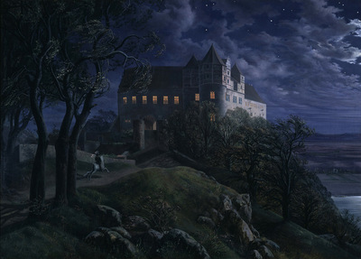 burg scharfenberg at night