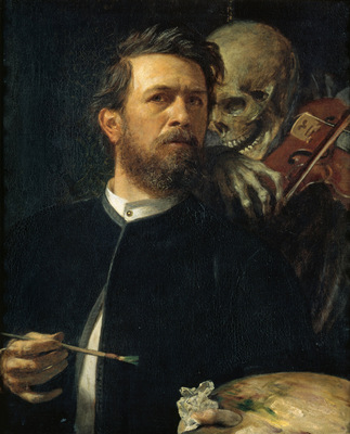 self portrait with death playing the fiddle
