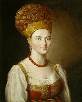 portrait of an unknown woman in russian costume