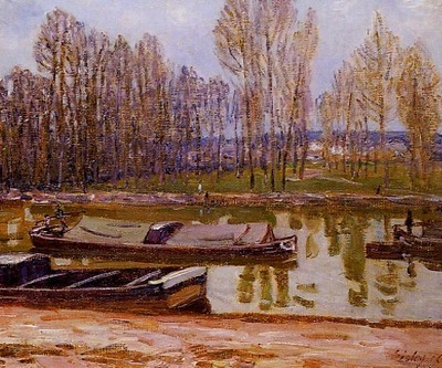 Barges on the Loing Canal Spring