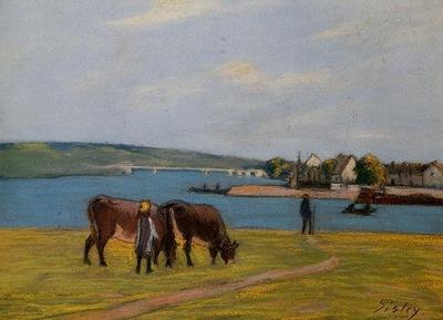 Cows by the Seine at Saint Mammes