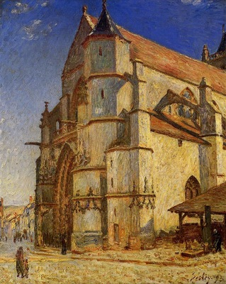 The Church at Moret in Morning Sun