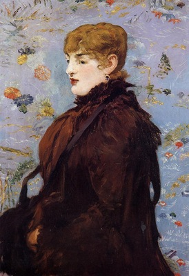 autumn portait of mery laurent in a brown fur cape