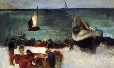 berck seascape fishing boats and fishermen