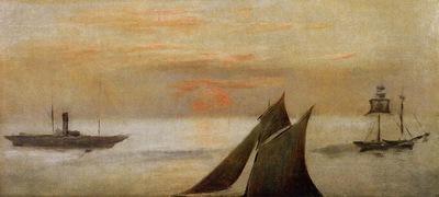 boats at sea sunset
