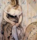 woman fastening her garter 1878