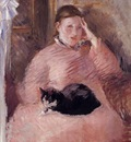 woman with a cat portrait of madame manet 1882