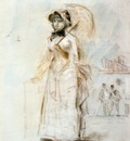 young woman taking a walk holding an open umbrella