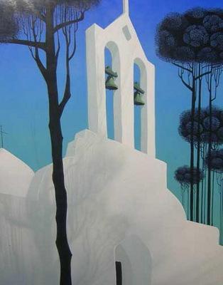 Church Tower Original Painting