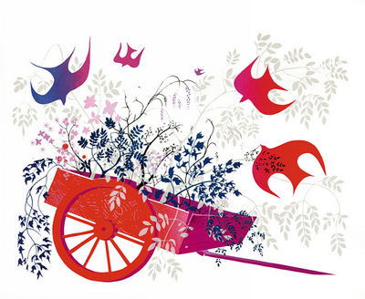 red wagon and foliage