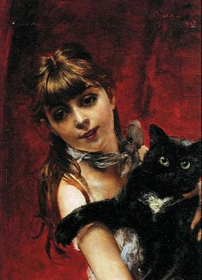 bambina con il gatto nero in braccio