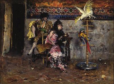Coppia in Abito Spagnolo con due Pappagalli El matador