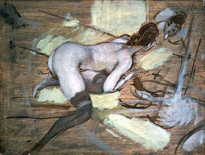 Nude Woman reclining on Yellow Cushions
