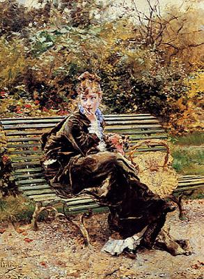 Sentada en el Jardin