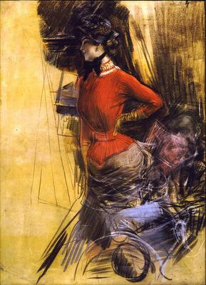 signora in casacca rossa