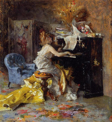 woman at a piano 1871