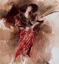 signora in abito rosso