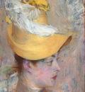 testa di signora con capellino giallo