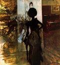 woman in black who watches the pastel of signora emiliana concha de ossa