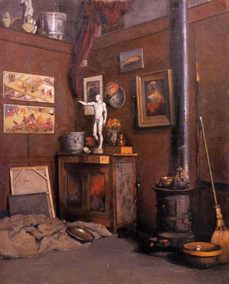 interior of a studio with stove 1872