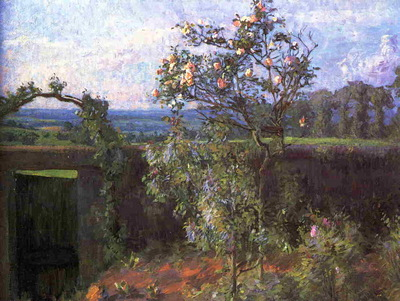 landscape near yerres  also known as view of the yerres valley and the garden of the artist's family property