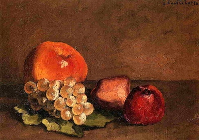 Peaches Apples and Grapes on a Vine Leaf