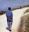 man in a smock  also known as father magloire on the road between saint clair and etretat