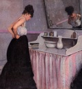 woman at a dressing table