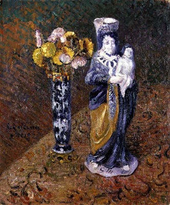 flowers and a statuette