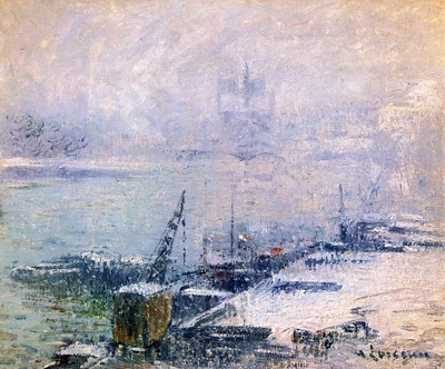 the pont henri iv notre dame de paris in the snow