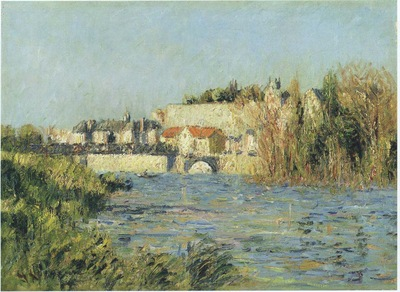 village in sun on the river