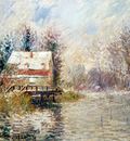 house by the water snow effect