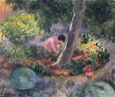 A Woman and Child in the Garden