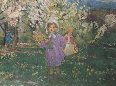 Children with spring flowers