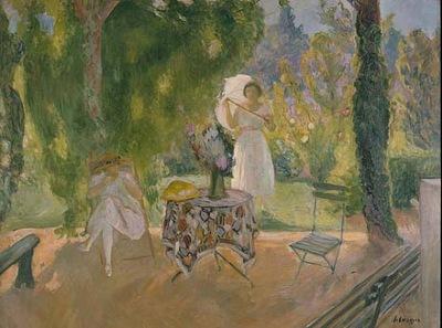 Deux Femmes dans un Jardin en Ete