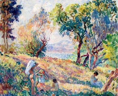girls in a landscape near st  tropez 1906