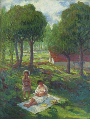 mother and child in a landscape