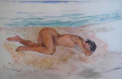 nu allongu sur la plage 1923