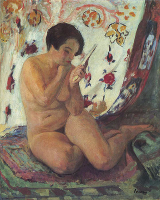 nude seated by a mirror