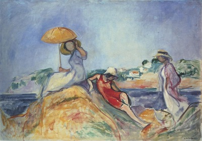 three women by the sea