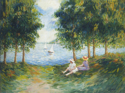 Two Young Girls by the River Eau