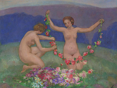Two Young Girls with Garlands