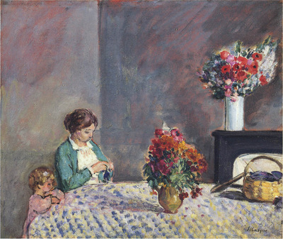woman and child seated at a table