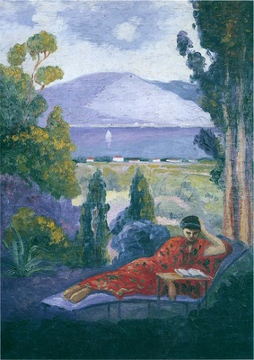Woman in a Mediterranean landscape