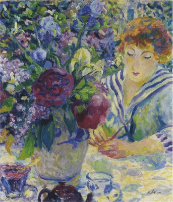 Woman with a Vase of Flowers