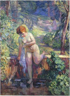 youn girl in a garden at st  tropez