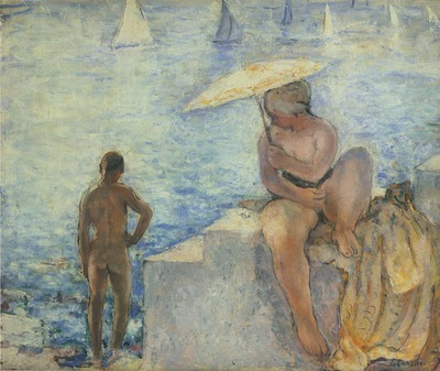 young bather with parasol