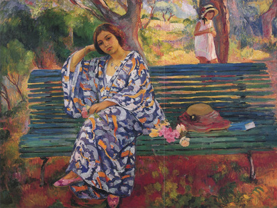 Young Woman Seated on a Bench