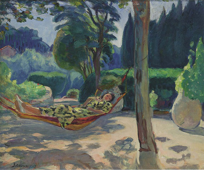 young woman on a hammock