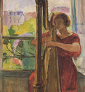 A Girl Playing a Harp
